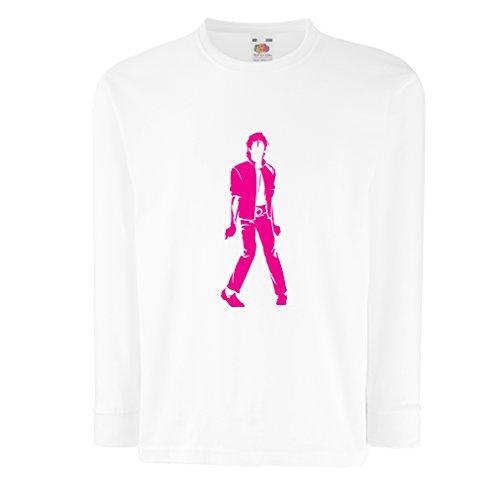 lepni.me Camiseta para Niño/Niña Me Encanta M J - Rey del Pop, 80s, 90s Músicamente Camisa, Ropa de Fiesta (12-13 Years Blanco Magenta)