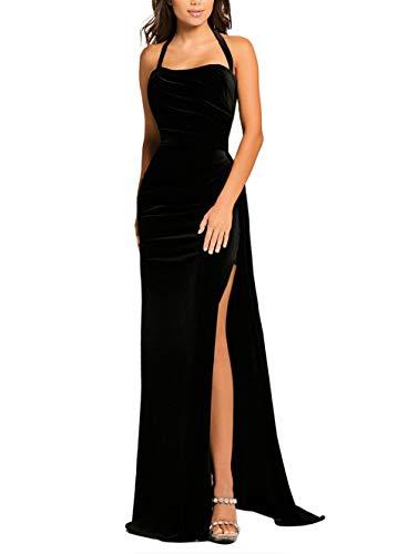made2envy Thigh High Split Velvet Evening Gown (M, Black) LC610993BM