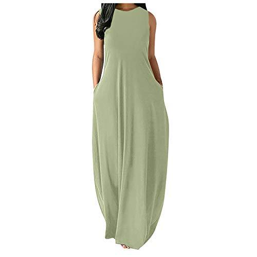 Zieglen Women Casual Summer Sleeveeless Sexy Plus Size Loose Plain Long Maxi Dress with Pockets Beach Sundress Green