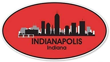 Indianapolis City Skyline Oval Vinyl Sticker - Car Phone Helmet Bumper Sticker Decal