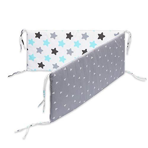 K-Park Almohadillas para Cuna de Algodón Transpirable Protectores para Cunas y Camas de Bebé Niña Niño 133 X 28 X 25cm Safety