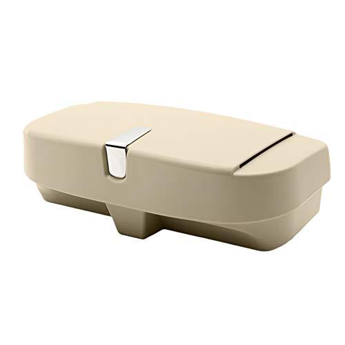 Muzhiili3 Organizador de coche, universal, para parasol, gafas, caja de almacenamiento para gafas de sol, tarjetero beige