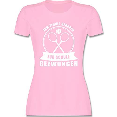 Tennis - Zum Tennis geboren. Zur Schule gezwungen - L - Rosa - Fun - L191 - Tailliertes Tshirt für Damen und Frauen T-Shirt