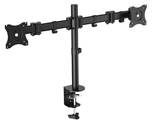 RICOO Monitor Halterung 2 Monitore Schwenkbar Neigbar (TS5811) Universal für 15-27 Zoll - Bildschirm-Ständer bis 8Kg je Schwenk-Arm, Stand-Fuss Höhenverstellbar mit Max-VESA 100x100