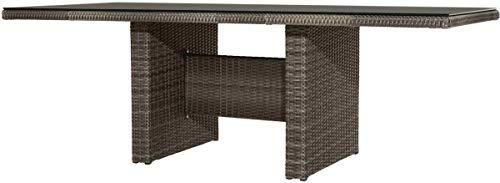 PLOß Rocking Dining Tisch grau braun-meliert aus Polyrattan-Geflecht 220 x 100 cm, Glasplatte in Steinoptik, Esstisch