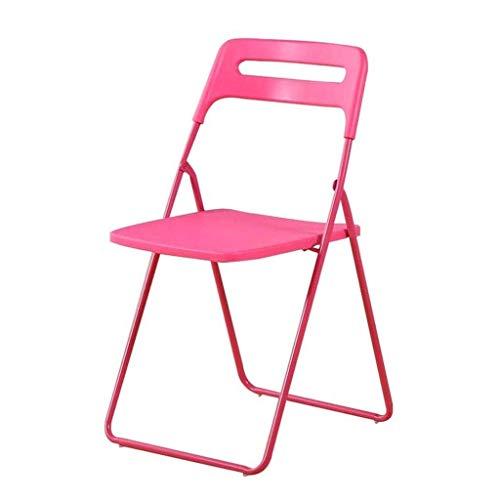 FACAZ Taburete Simple con Respaldo, Silla Plegable para el hogar, Silla de Oficina portátil, Silla de Conferencia, Silla de Dormitorio (Color: Rosa)
