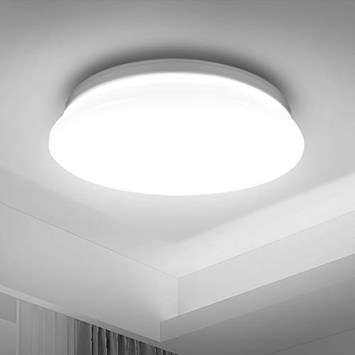 LE Ceiling Light, 22W LED, 1500lm, 5000K Daylight White, φ30cm Round, Flush Ceiling Light for Kitchen, Hallway, Office, Porch and More