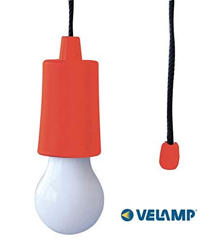Velamp RETRO' Lampadina LED Portatile a Pile. Colorata, Senza Corrente ma Super Luminosa. per Casa, Campeggio, Giardino.Cordoncino: 105cm, Rosso