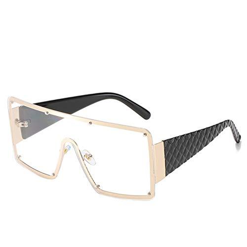 Gafas de sol de las mujeres de la vendimia de gran tamaño cuadrado gafas de sol de las mujeres de los hombres de la moda de metal gran marco gradiente gafas de sol uv