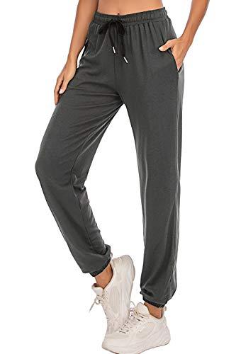 Enjoyoself Pantalones Deportivos para Mujer para Yoga Running Fitness Jogging Danza Pijama de Interior Largos Chándal Casuale Gris Oscuro XXL