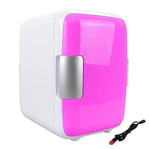 Lanbowo Mini 4L Réfrigérateur Maquillage Réfrigérateurs Double Usage pour Maison Pièce Voiture, Portable Frigo Voyage Boite - Rose