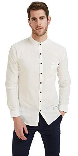 Plaid&Plain Men's Long Sleeve Mandarin Collar Shirts Men's Slim Fit Linen Shirt White XL