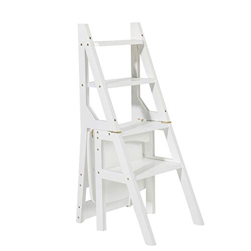 Household Multi-Function Ladder Stool Solid Wood IKEA Children Folding Chair Dual-use Four-Step Ladder Ascending Ladder