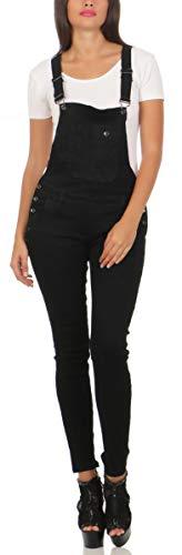 Fashion4Young 10026 Damen Latzhose Latzjeans Röhrenjeans Jeans Hosenträgern Overall (XS/34, schwarz)