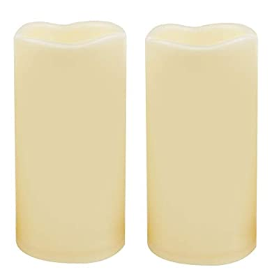 2 Waterproof Outdoor Battery Operated Flameless LED Pillar Candles with Timer Flickering Plastic Resin Electric Decorative Light for Lantern Patio Garden Home Decor Party Wedding Decoration 3x6 Inches