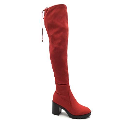 Angkorly - Damen Schuhe Oberschenkel-Boot Stiefel - Flexible - Reitstiefel - Sexy - Spitze - Einfach Basic - Basic Blockabsatz high Heel 8 cm - Rot FH625 T 40