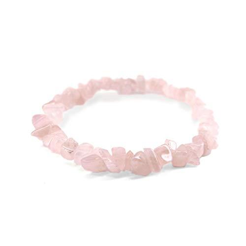 Pulseras Chip de Cuarzo Rosa Minerales y Cristales, Belleza energética, Meditacion, Amuletos Espirituales