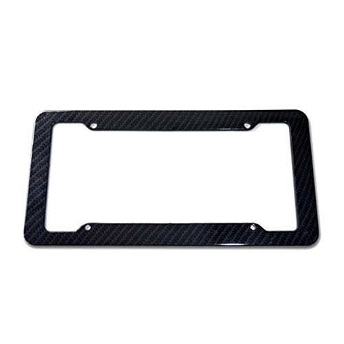 XIAOYING 1pc Cover for Front Rear Bracket Screws, Universal License Plate Frame Auto Accessory Black Carbon Fiber Number Plate