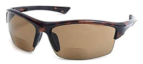 'Bifocal Sport Wrap' Half Rim Wrap Around Reading Sun Reader Sunglasses Men Women (Tortoise, 2.50)