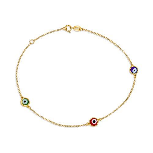 Bling Jewelry Delicate Turkish Evil Eyes Multi Color Anklet Ankle Bracelet...