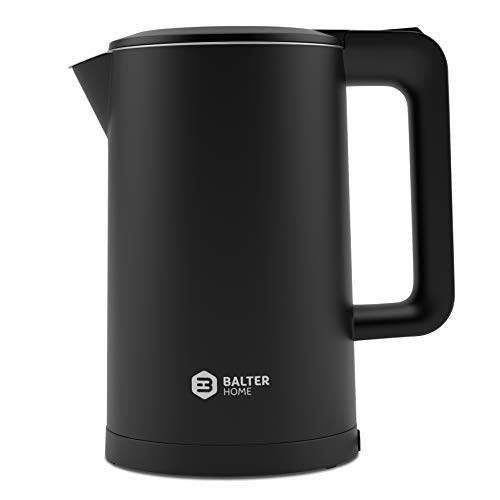 Balter Wasserkocher Edelstahl WK-4, 1,7 Liter, elektrischer Wasserkocher, Doppelwand Design, BPA frei, LED, kabellos, Teekocher Kompakt, leise, Schwarz