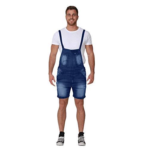 Peto Vaquero Hombre Corto Verano Pantalones Vaqueros de Mono pantalón de Tirantes Simple y Casual Pantalones de Denim Jeans de Trabajo Azul 99