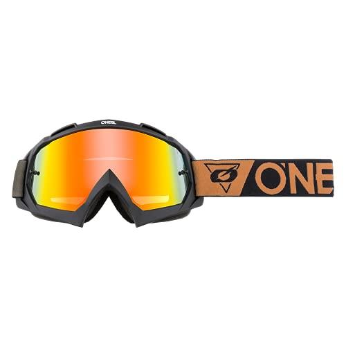 O'NEAL | Fahrrad- & Motocross-Brille | MX MTB DH FR Downhill Freeride | Hochpräzise 3D geformte Linse, Schlagfestigkeit, 100% UVA/B/C-Schutz | B-10 Goggle | Unisex | Schwarz verspiegelt | One Size