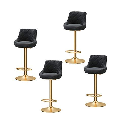 Barstühle Barhocker 4er Set Flanell Barhocker höhenverstellbare Barstühle Barhocker für küche 360° Drehstuhl Fußstütze,Der goldene Beinstuhl Tresenhocker Bistrohocker (Color : Black)