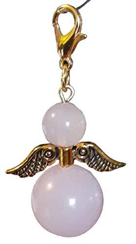 DDesign Guardian Angel Rose Quartz (Semi-Precious Stone, Bag Pendant, Key Ring, Lucky Angel)