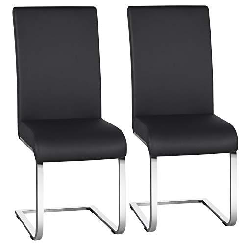 Yaheetech Freischwinger Stuhl 2er Set | Kunstleder Bezug + Metall Gestell, 135 kg belastbar | Esszimmerstühle Schwingstühle Schwarz