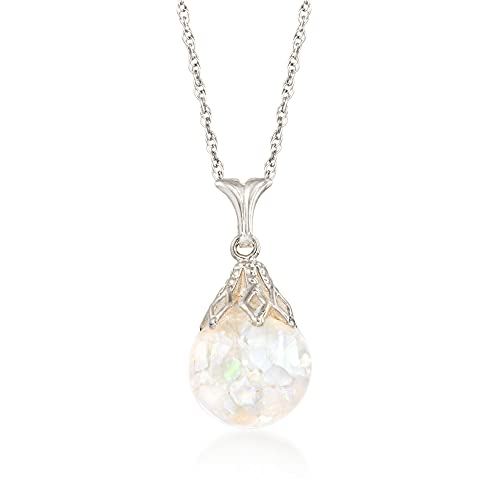 White Gold Floating Opal Necklace
