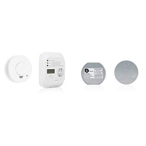 Smartwares TÜV Rauchwarnmelder + Kohlenmonoxid Melder (Co Melder), FSE-19203, 1 Stück & Magenthalter für Rauchmelder/6 cm Ø/Magnetbefestigung für Rauchmelder, RMAG60