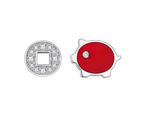 Jambala S925 Plata Pequeño Cerdo Rojo Pendientes de la Serie Temperamento Femenino Sentimiento Superior Cumpleaños Regalo de San Valentín para Enviar Conjunto de Pendientes de Novia