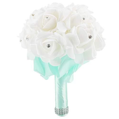 Adereços de casamento, buquê artificial de flor de espuma de cor opcional de acabamento requintado, para festa de casamento(céu azul)