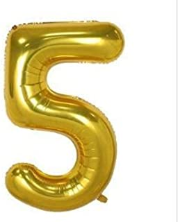 40 Inch Number 5 Balloon Glittering Golden Color Grand Size for Special Occasions and Birthday Wedding Anniversary Decorat...