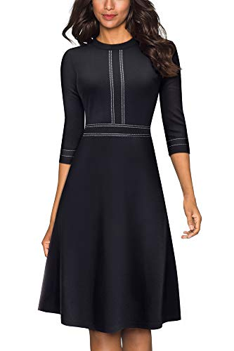 HOMEYEE Women's Vintage Crew Neck 3/4 Sleeve Patchwork Cocktail Aline Dress A135 (UK 8 = Size S, Black-B)