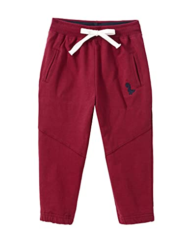 Doomiva Unisex Kids Girls Boys Cotton Drawstring Elastic Embroidery Sweatpants Athletic Jogger Pants Activewear Burgundy 3-4 Years
