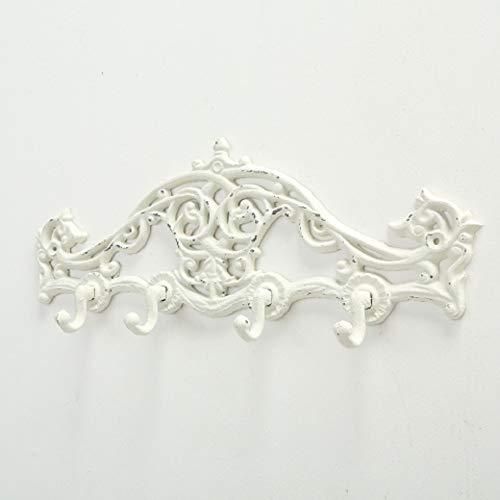 Home Collection Hogar Muebles Organización Perchero de Pared Cuatro Ganchos Hierro Blanco 39 cm