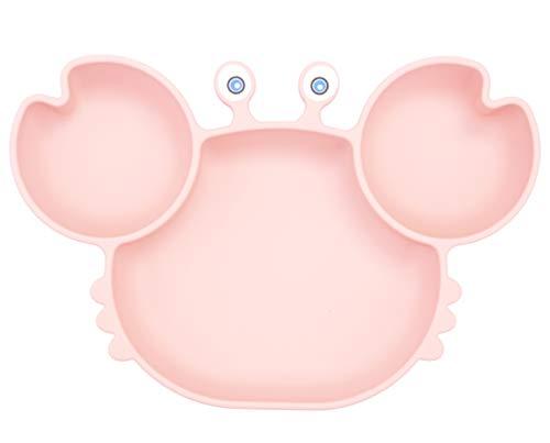 Baby Teller Schüssel Mini Silikon Platte für Baby Kleinkinder und Kinder Tragbar Teller Baby Rutschfest Babyteller Saugen Abwaschbar für Spülmaschine, Mikrowelle (Krabben-Pink)