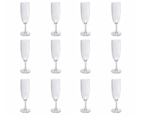 Nordiska Plast Lot de 12 flûtes à champagne réutilisables transparents en plastique noble, sans BPA, fabriqué en Suède, 170 ml