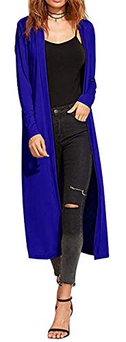 Re Tech UK Gilet Long - pour Femme - col/Manches Longues - Style Boyfriend/léger - Bleu Roi - XL EU 44-46 (Grande Taille)