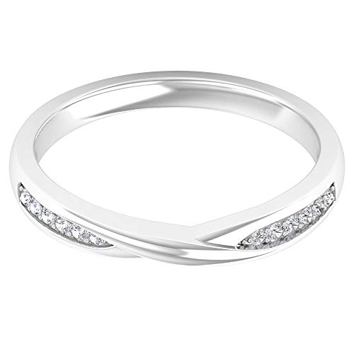 Anillo de metal mezclado con diamante certificado SGL, clásico anillo de banda entrelazada, anillo de compromiso de oro apilable para novio, 14K Oro blanco, Size:EU 53