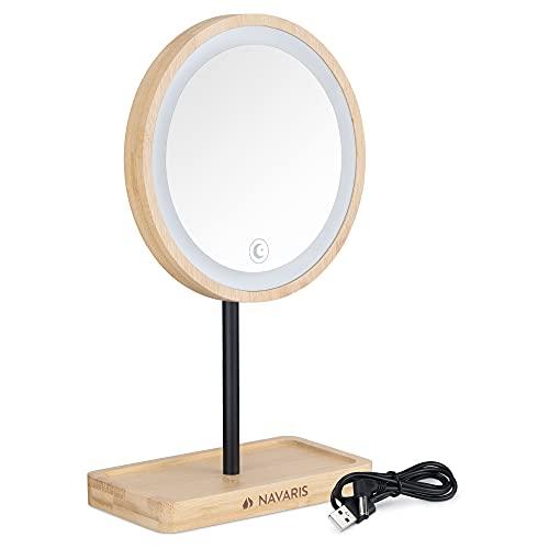 Navaris Espejo de Maquillaje con luz - Espejo Redondo de bambú con Luces LED Regulables - para baño Mesa tocador camerino - con Base para Accesorios