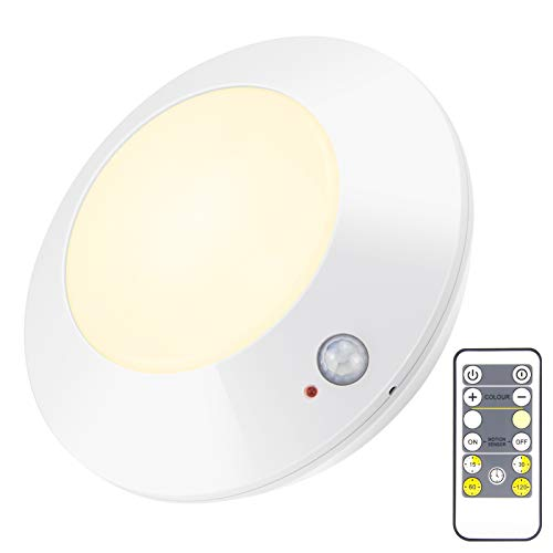 HONWELL Battery Operated LED Ceiling Light, Motion Sensor Ceiling Light, Wireless Shower Light with RF Remote Control 80Ft Through Walls, 300 LM Ultra Bright Indoor Lighting for Stairs, Porches-5 Inch