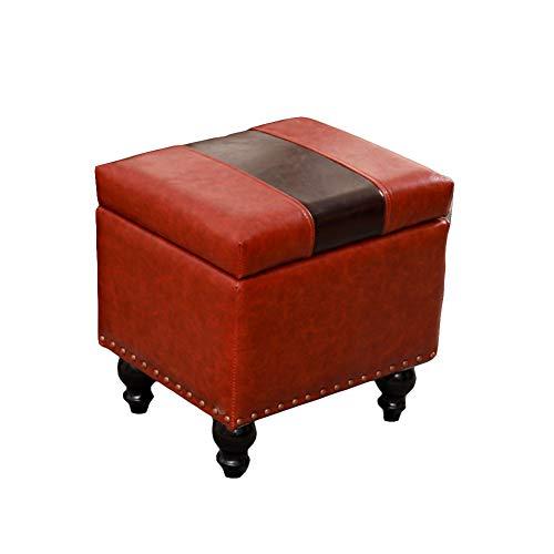 Yao rack Tabouret de Rangement épais Bois Pliant Ottoman Repose-Pieds en Acier Inoxydable résistant à l'humidité Multi-Fonction Table Basse Repose-Pieds 40 × 34 × 40Cm,D