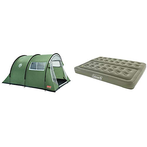 Coleman Coastline 4 Deluxe Tent - 4 Person & Comfort Double Flocked Surface Inflatable Camp Air Bed - Green, 188 x 137 x 22 cm
