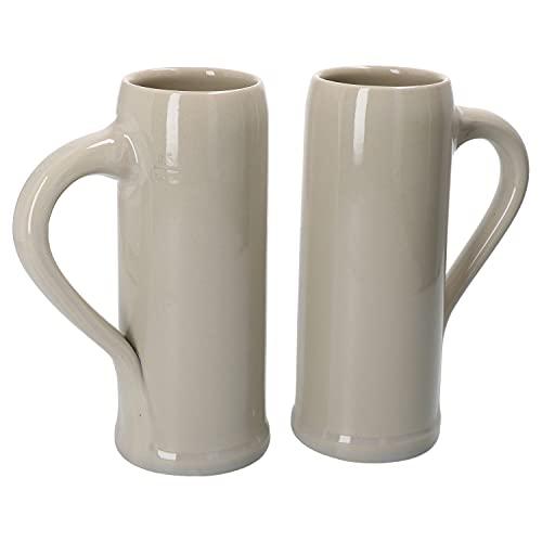MamboCat Set di 2 boccali per orzo con manico, 0,5 litri, in ceramica, 2 persone, brocca stretta, boccale di birra I lucido