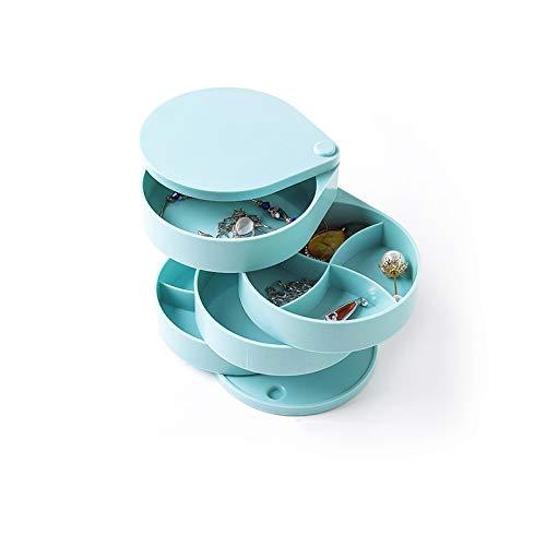 EVENN - Joyero de plástico con rotación avanzada de múltiples capas, organizador de 4 capas, de plástico giratorio avanzado, color azul