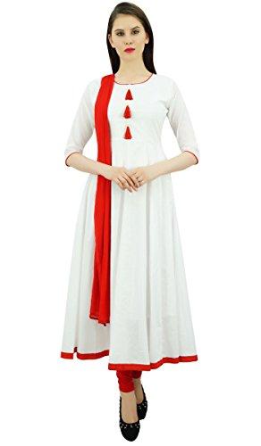 Atasi Damen Designer Anarkali White Salwar Anzug Ethnic Indian Cotton Dress-38