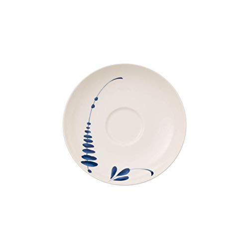 Villeroy & Boch Vieux Luxembourg Brindille Sous-Tasse, 14 cm, Porcelaine Premium, Blanc/Bleu